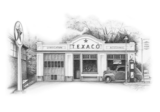 Sketch of Texaco Gas Station